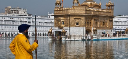 Sikh guard at the Golden Temple. Photograph by Aaron Goccia